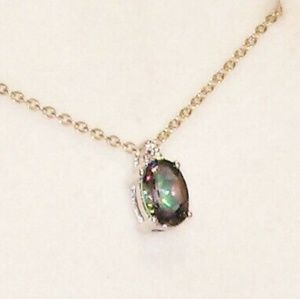 Jewelry - Mystic topaz diamond sterling silver pendant
